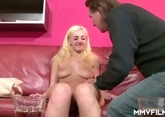 Young blonde Gabriella Daniel gives blowjob and gets her pussy licked