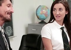 Jade Amber is a cute babe who wants to ride a teacher's dick