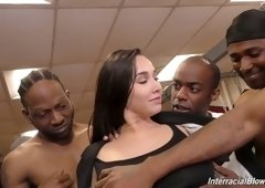 White chick Karlee Grey takes part in crazy blowbang clip ending up with bukkake scene
