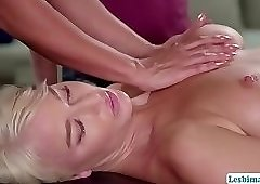 Hot lesbian threesome after massage with slutty ladies