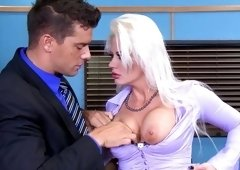 Tattooed blonde secretary likes rough sex