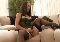Round ass Kristina Rose bends over and takes it from the back door