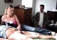 CUCK Watches his wife jerking small dicked stranger