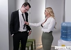 Gorgeous seductress Nikki Benz seduces her nerd and decent boss