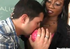 Ebony cougar with hot big titties is acting in cock sucking sex video in office