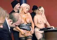 Big titted blondes are having group sex