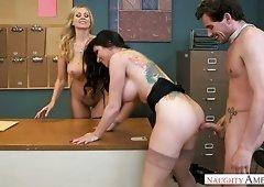 Amazing office slut Julia Ann has unforgettable FFM threesome at work