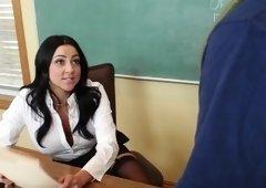 Professor Audrey Bitoni fucks student's big dick in the classroom