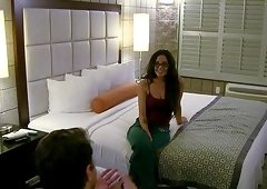Brunette Krystal in glasses drilled hardcore in reality scene