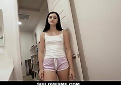 SisLovesMe - Stepsis Caught Perv Stepbro Jerking Off