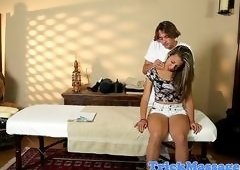 Massage babe pussypounded by masseur on table