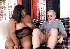 Slutty BBW Peaches Love will set this old man's cock off like dynamite