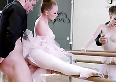 Cute ballerina takes big throbbing cock in her sweet pussy