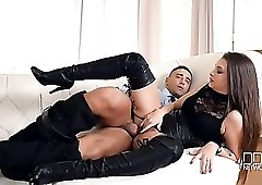 Hardcore sex with a beauty in leather boots