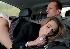 Alexis Crystal gets her tight delicious pussy eaten in the car