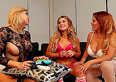 Chloe Lane and her mature girlfriends in a lesbian threesome