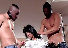 Kinky chick Tera Joy finally agrees to bang with two guys at once