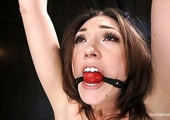 Gagged slender whore Lily Labeau has to make a bridge during bondage