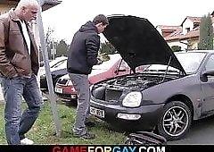 Gay looking for his slut in a car shop