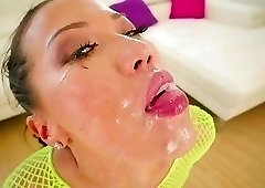 Lime green fishnet bodysuit Asian brunette gets gaped