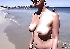 Her big tits are beautiful in a topless chat outdoors