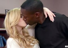 White Abigale Johnson attacked by huge black dick right in her office