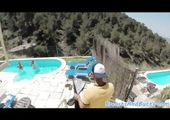 Voluptuous beauty fucked by the pool