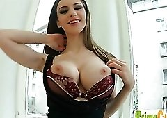 Her big titties come out for naughty fondling