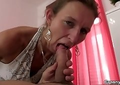 Old granny masseuse riding young meat