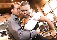 Beautiful blonde waitress Mia Leone gives a blowjob right in the pub