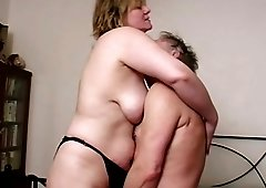 Horny vintage mature couple enjoys exciting fondling and pleasuring classic hardcore sex