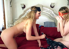 Lucky guy gets his balls and dick worshiped by two ladies