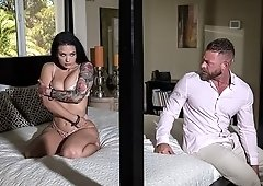 Inked up babe Katrina Jade comforts Brad Newman after he finds his wife covered in another man's creamy load