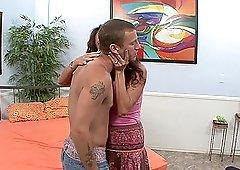 Busty Ariella Ferrara gets her hairy cunt drilled by a friend