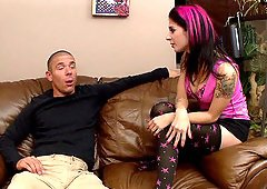 After a blowjob Joanna Angel lets him pound her pussy and ass