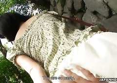 Torrid cutie Tsukushi masturbates herself in front of her own BF outdoors