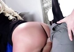 Amazing and sexy babes is being nailed while still working