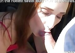 Redhead street prostitute gets her butcheeks spread for cash