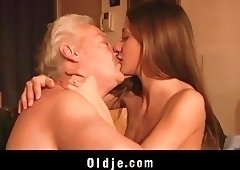 Old man fucked me my tight young pussy I swallow his cum