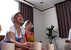 Sharing a delicious cock pleases more Japanese chicks at once