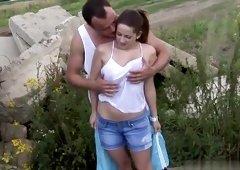 Brunette Nicole Sweet with hot knockers in porn in outdoor