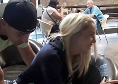 Hot blonde is getting her pussy fucked while she is in a cafe