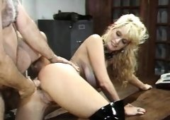 Stacked blonde Crystal Gold welcomes Ron Jeremy's big cock up her ass