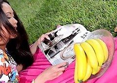 Masturbating with fake fruit makes naughty Danika happier than anything