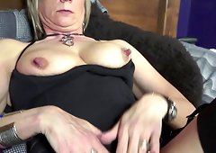 Leather boots are foxy on this toy fucking mature blonde