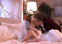 Bride and her groom have hot sex on the wedding night