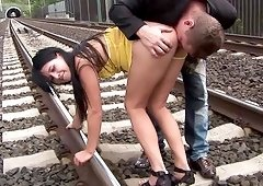 Lucy Belle gives the passengers an upskirt of her pantie