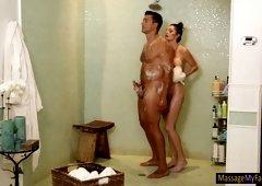 Sexy brunette masseuse gets twat screwed
