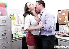 Super duper hot big breasted and bootylicious secretary is nailed doggy