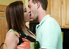 Milf Sara Jay gags on sons friends dick in the bedroom after a dp blowjob
